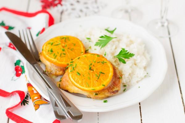 Рецепт                  Запеченные куриные бедрышки с апельсинами