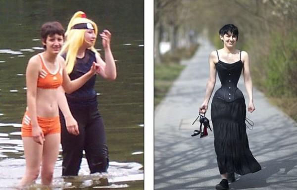 Талия Мишель раньше была 64 см, спустя 3 года в корсете – 40.