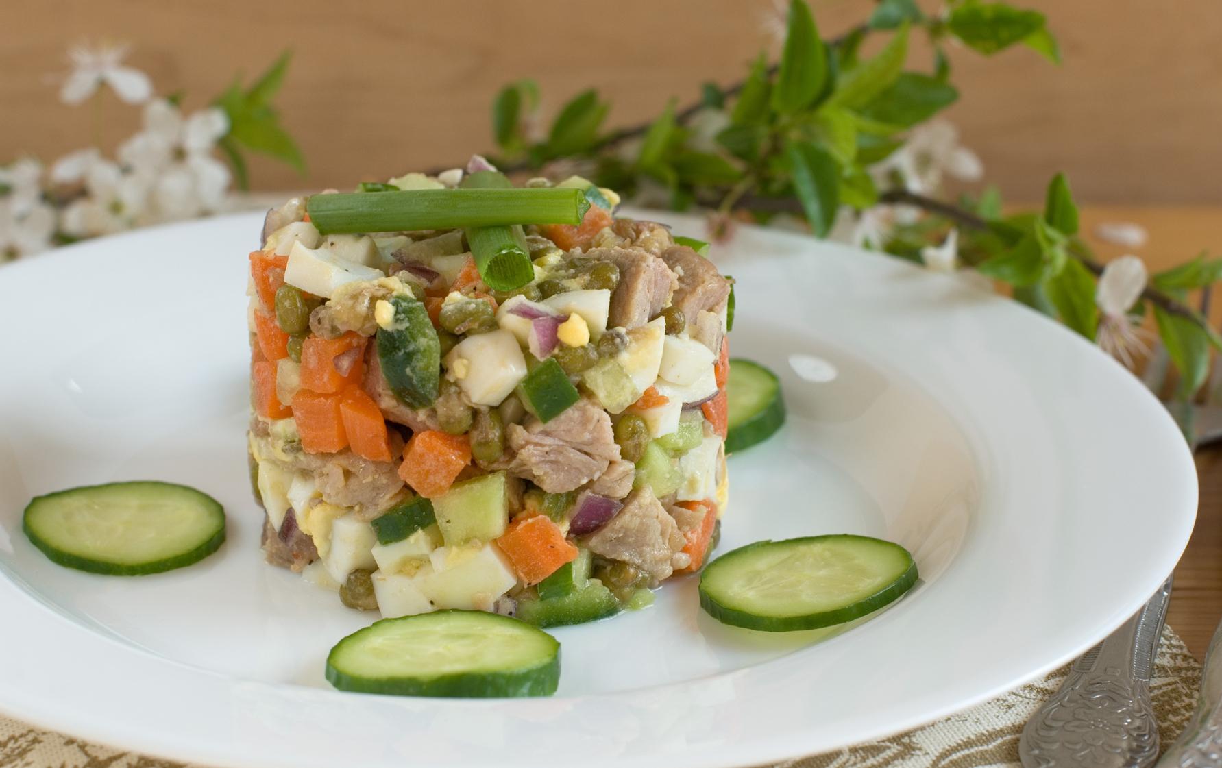 Салат оливье по новому рецепт с фото пошагово