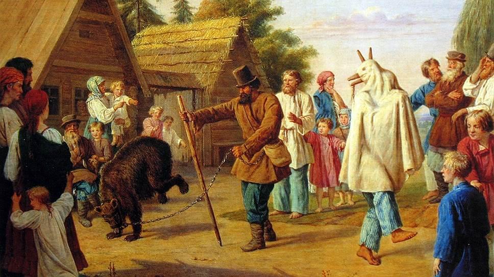 Народные гуляния с медведем в честь весны