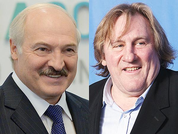 Александр Лукашенко и Жерар Депардье (справа)