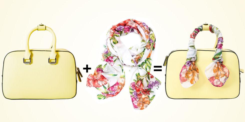 Цветастый шарф станет ярким акцентом твоей сумочки