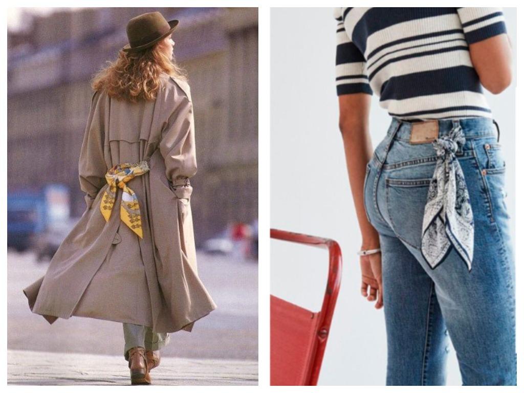 Вместо надоевшего пояса можете использовать яркий платок