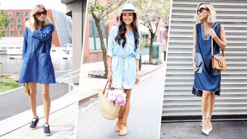Джинсовое платье с чем носить летом