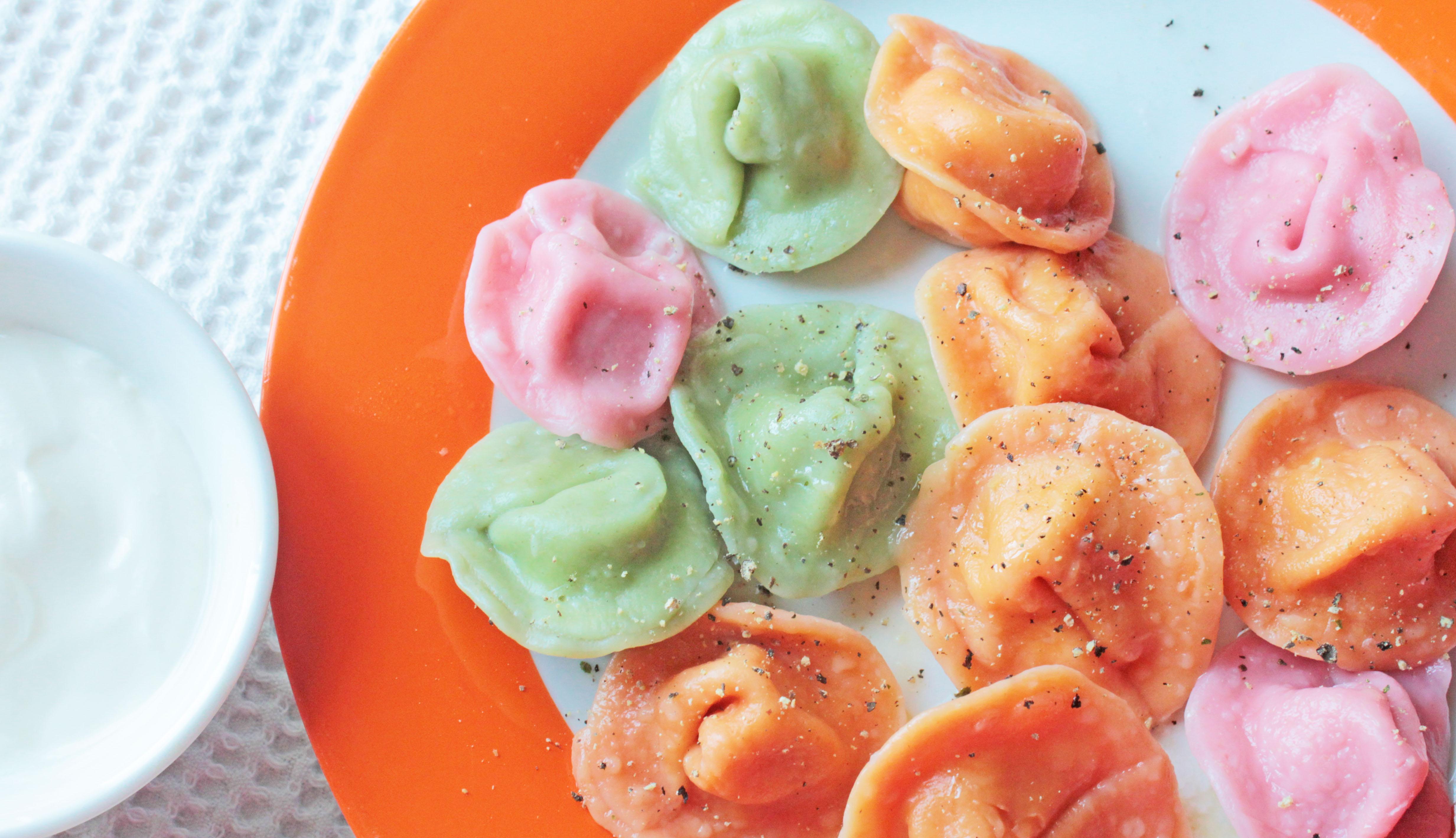 Цветные пельмени рецепт с фото