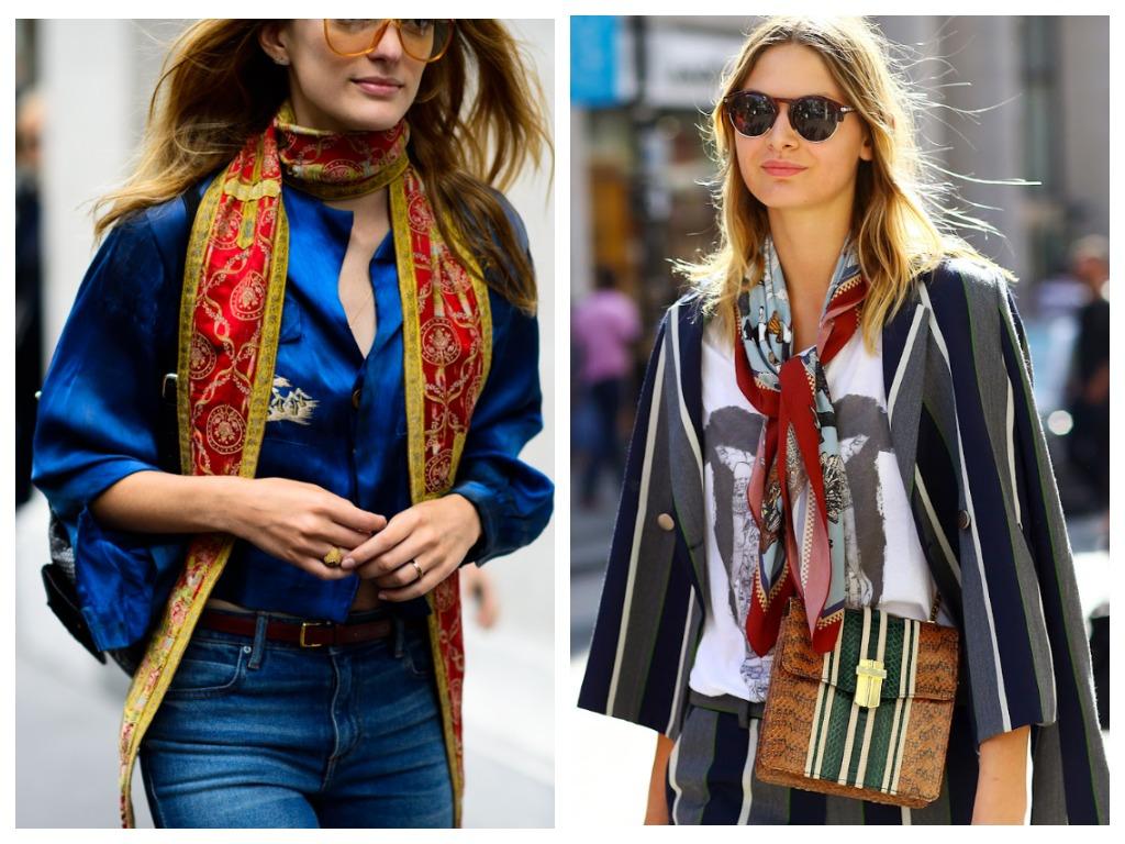 Модные способы как завязь шарф - в виде галстука бойфренда