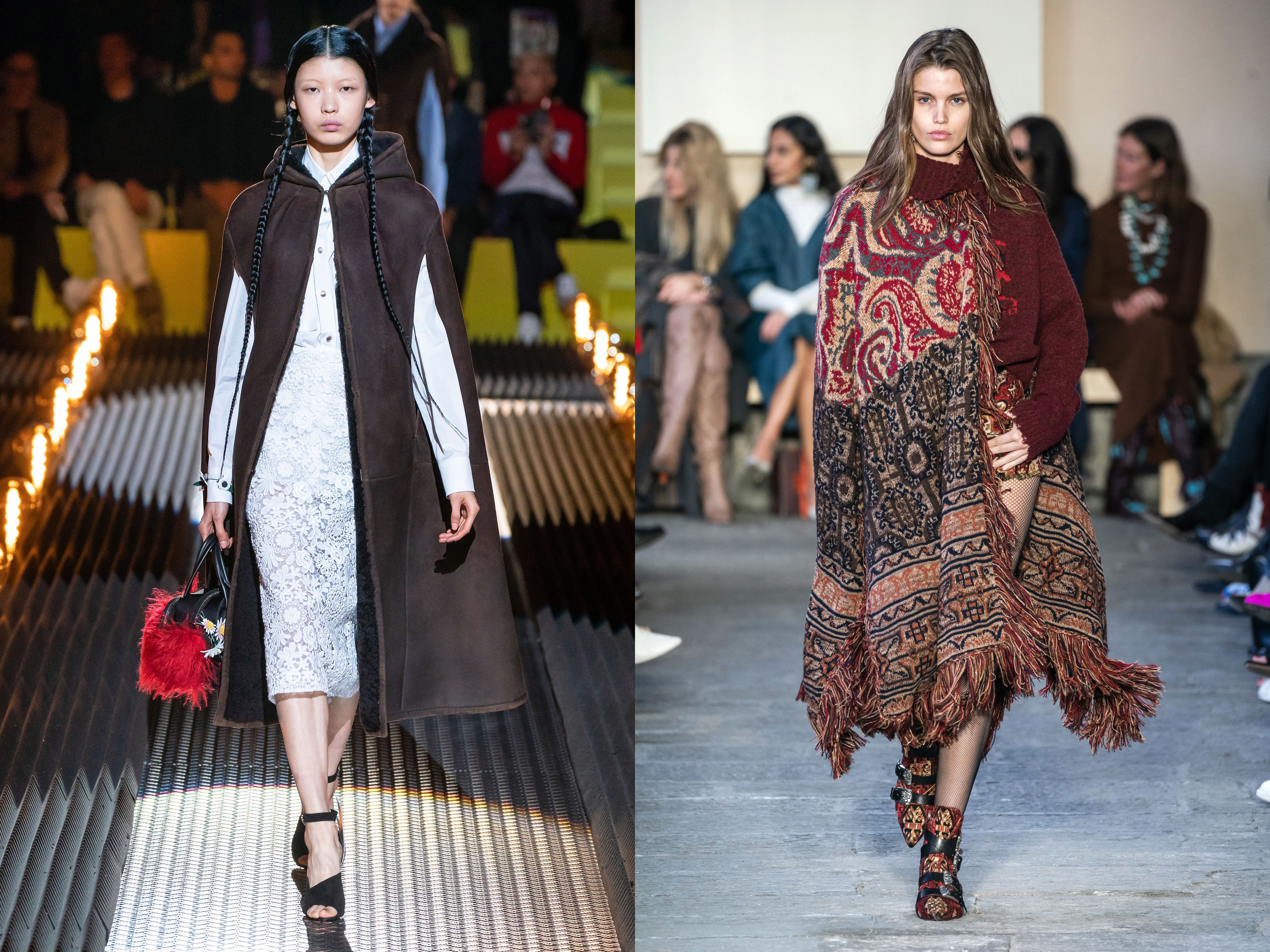 Пончо - отсылка к этно-мотивам и удобный вариант замены классических пальто