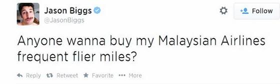 Шутка Биггса о малазийской авиакомпании не вызвала смеха у его подписчиков