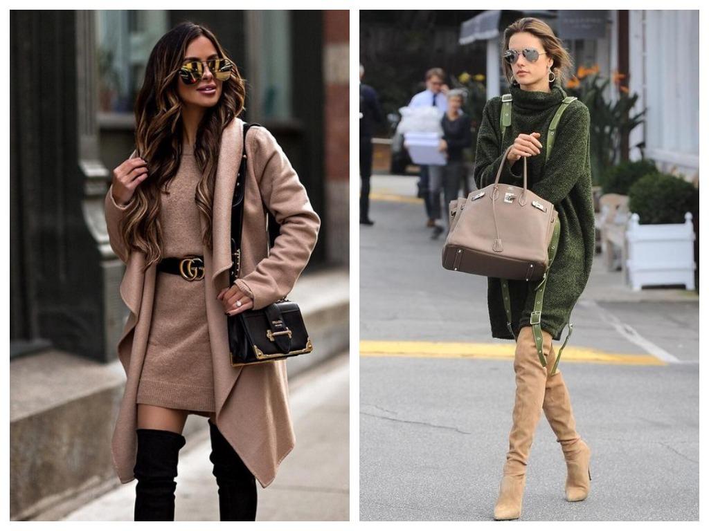 Удлиненные свитера-платья носите обязательно с макси-ботфортами