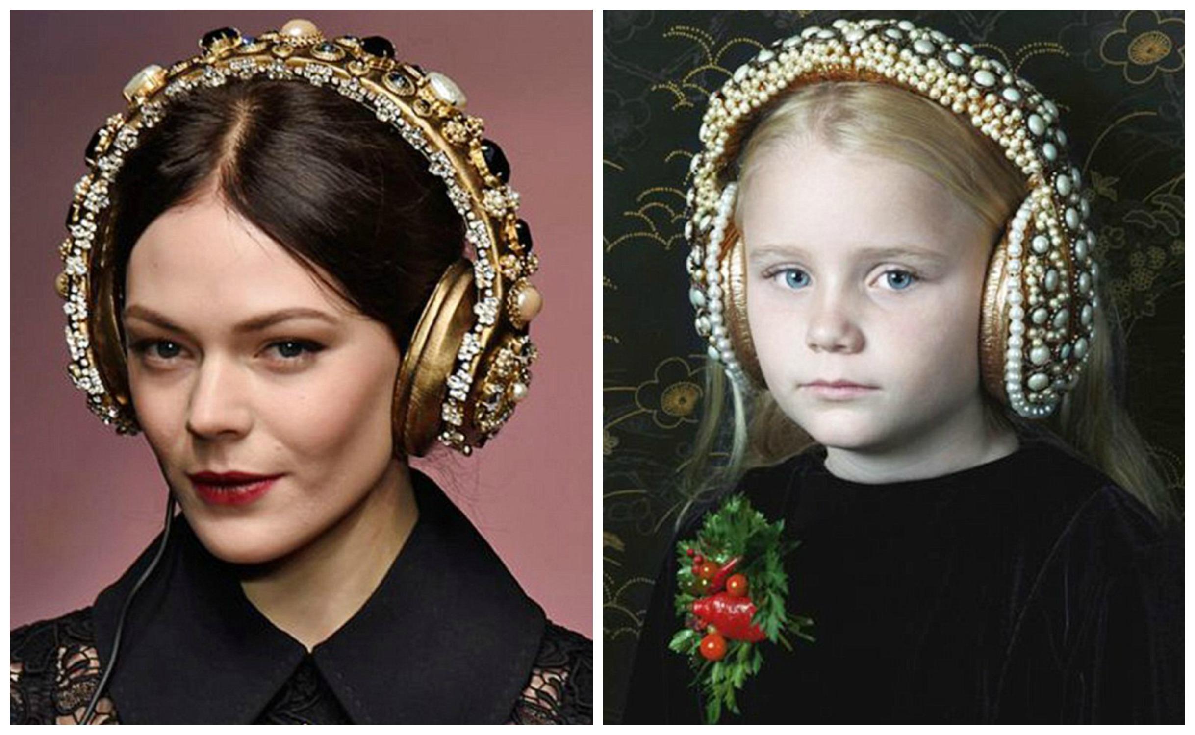 Наушники на показе Dolce&Gabbana (слева) и в рекламной кампании колумбийского дизайнера
