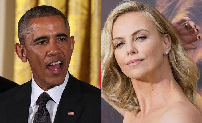 Барак Обама и Шарлиз Терон