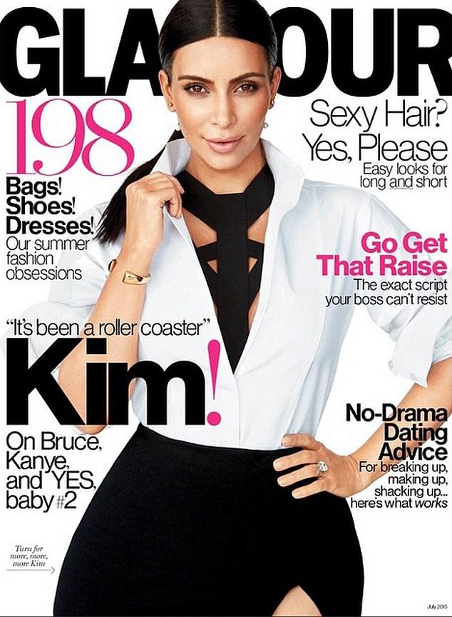 Беременная Ким Кардашян украсила обложку Glamour