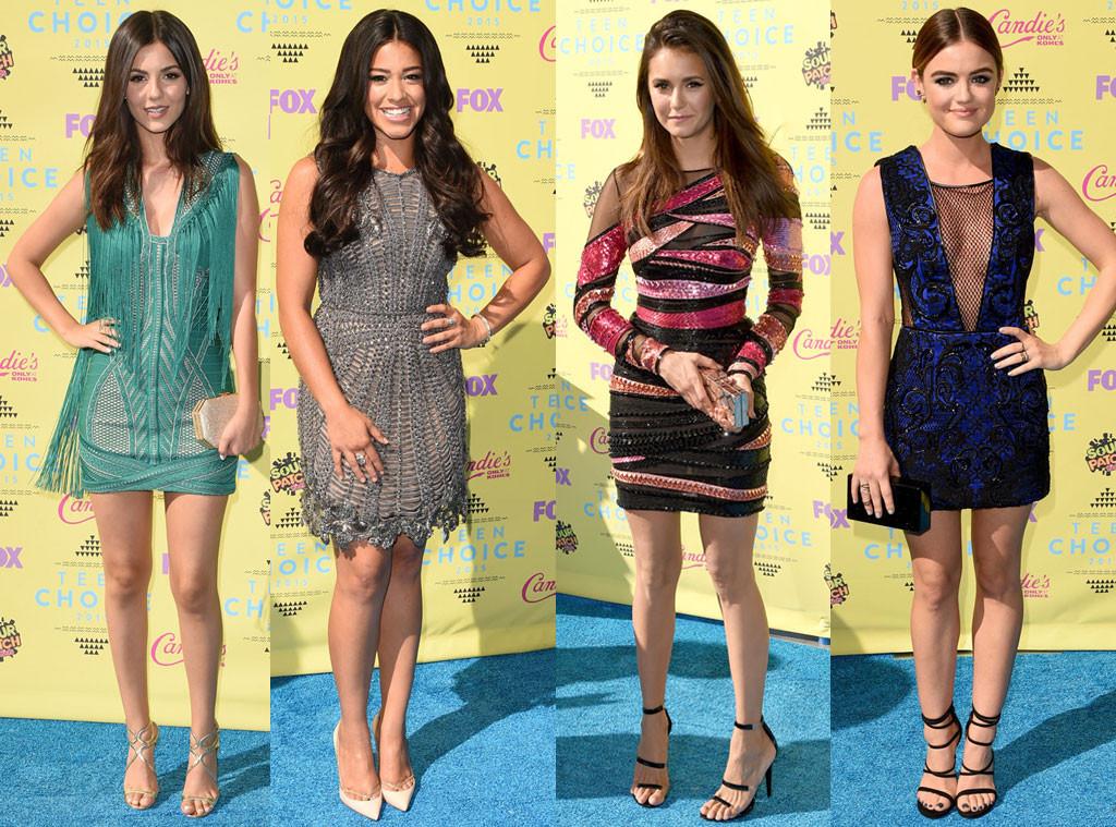 Виктория Джастис, Джина Родригез, Нина Добрев и Люси Хейл (слева направо)