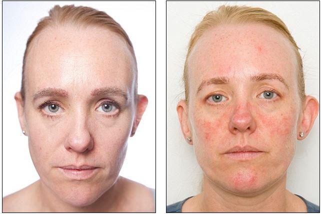 До и после 30 дней с макияжем на лице