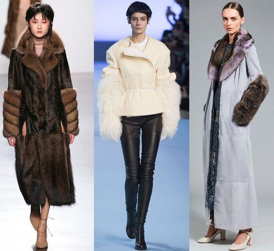 Пальто с пушистыми рукавами