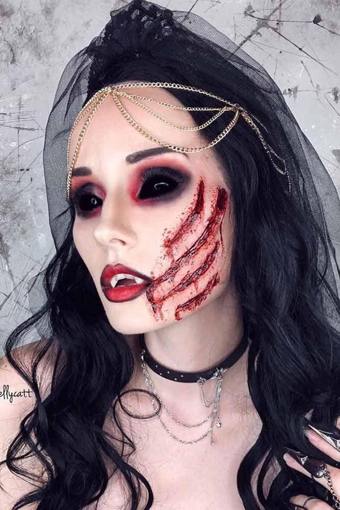 Прически на Хэллоуин: образ Черной Невесты