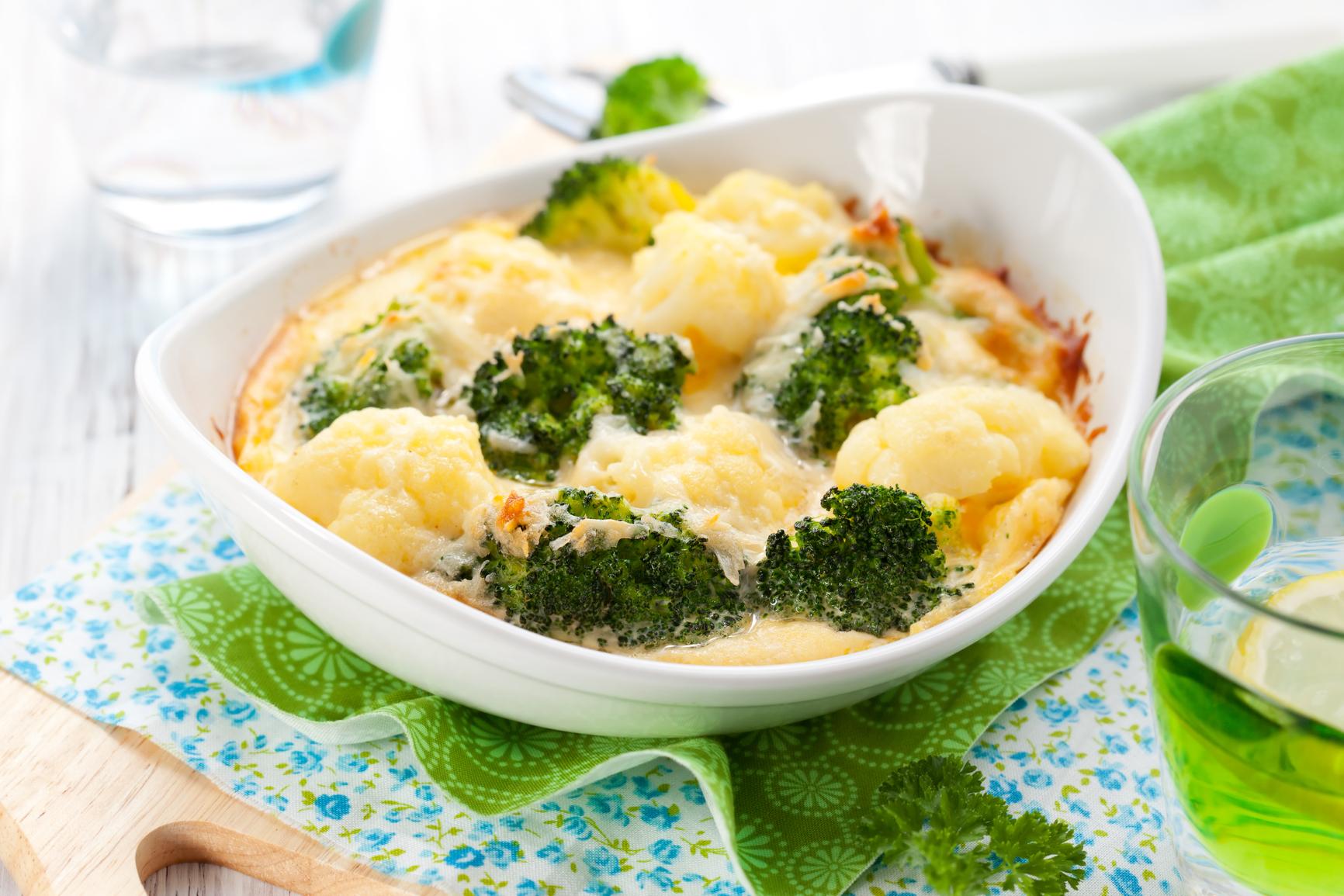 брокколи и цветная капуста запеченная в духовке с сыром