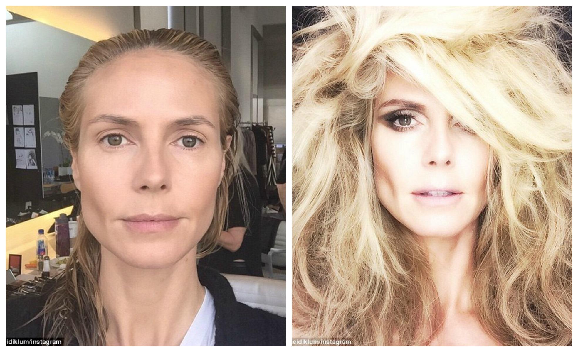 Хайди Клум показала фото до и после профессионального макияжа