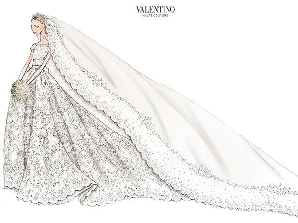 Эскиз свадебного платья принцессы Мадлен