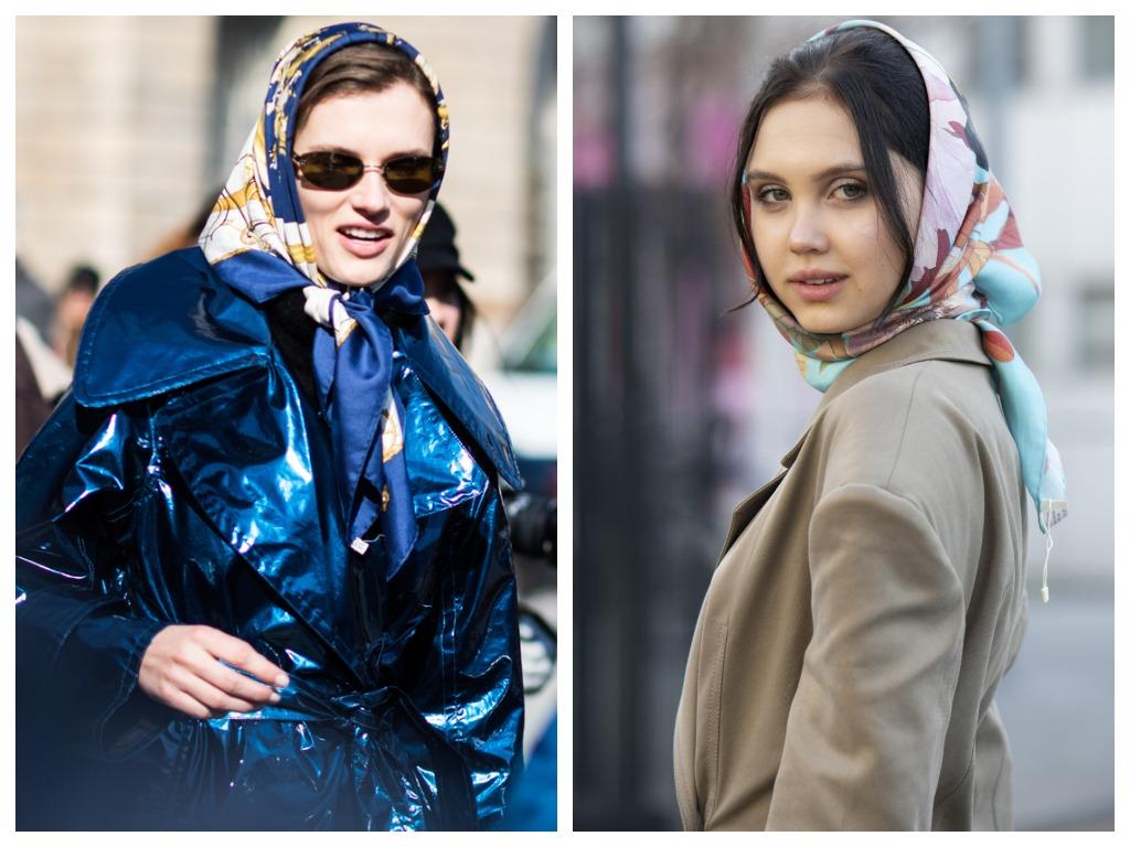 Модные способы как завязь шарф - в виде ретро-косынки