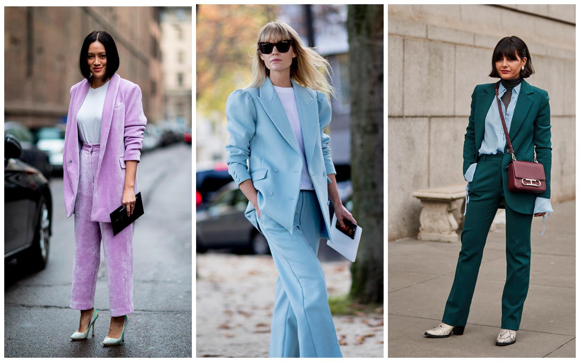 Брючный костюм выбирайте пастельных или классических оттенков