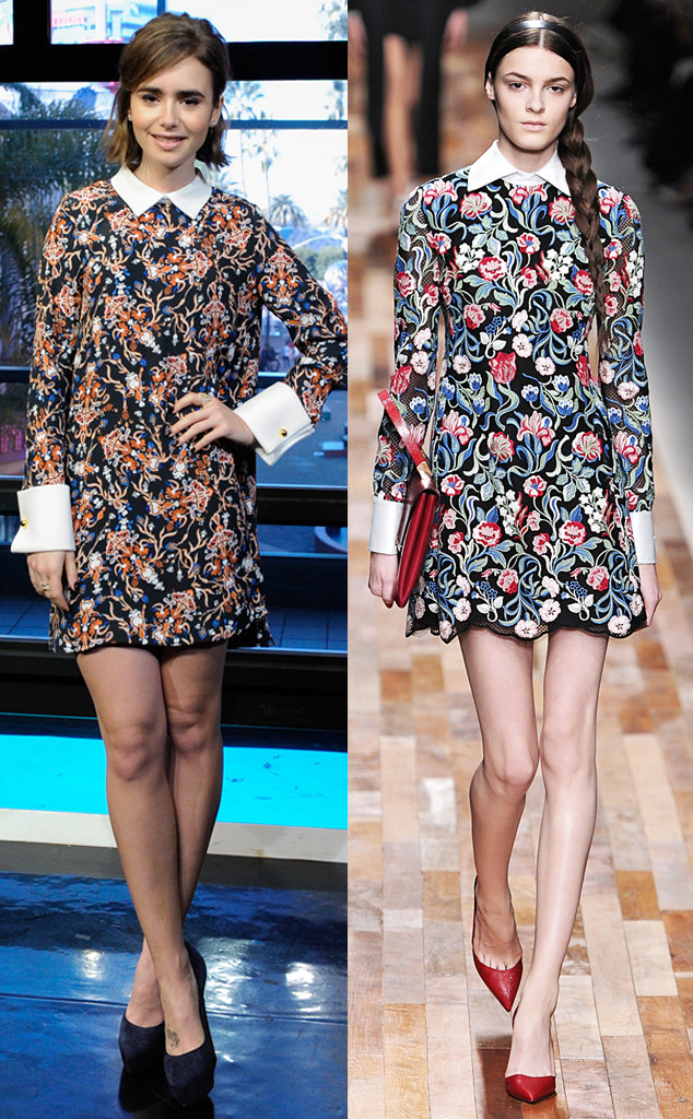 Сравни: на Лили Коллинз платье от Рэйчел Зое, а на модели – от Valentino