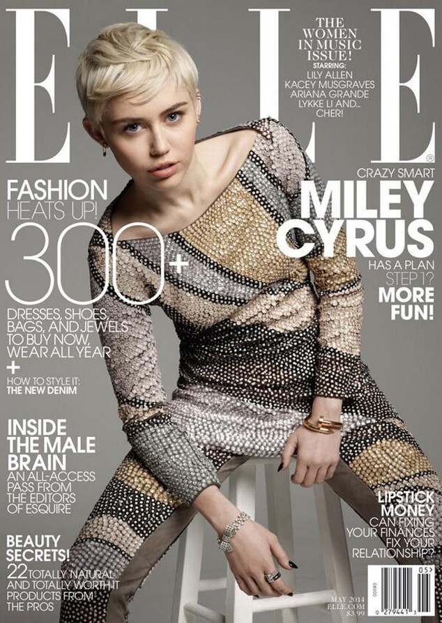 Певица Майли Сайрус в нежном и стильном образе на обложке Elle