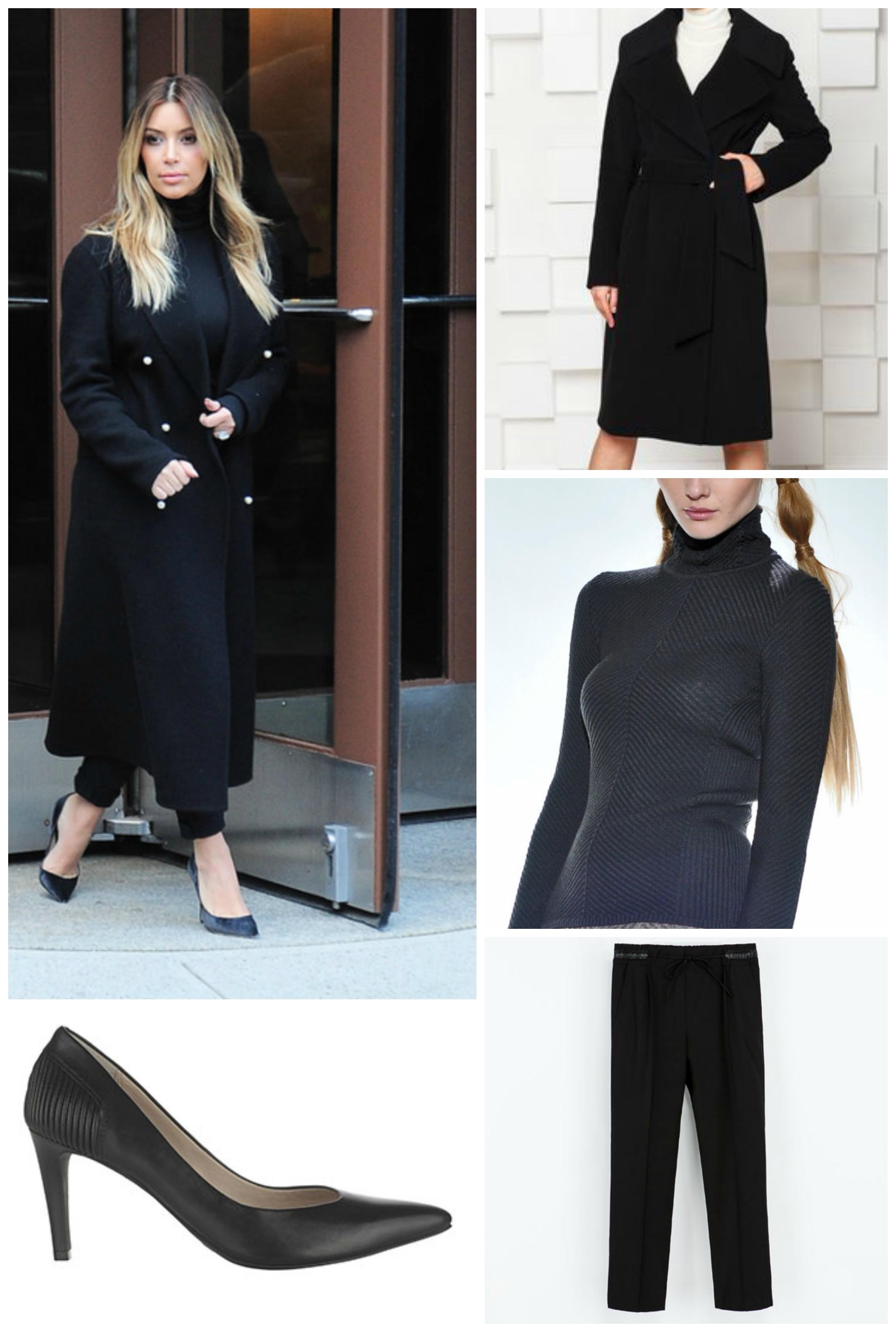 Как повторить образ Ким Кардашян: пальто Дана, 2006 грн; водолазка Rito, 750 грн; брюки Zara, 459 грн; туфли Marks & Spencer, 699 грн