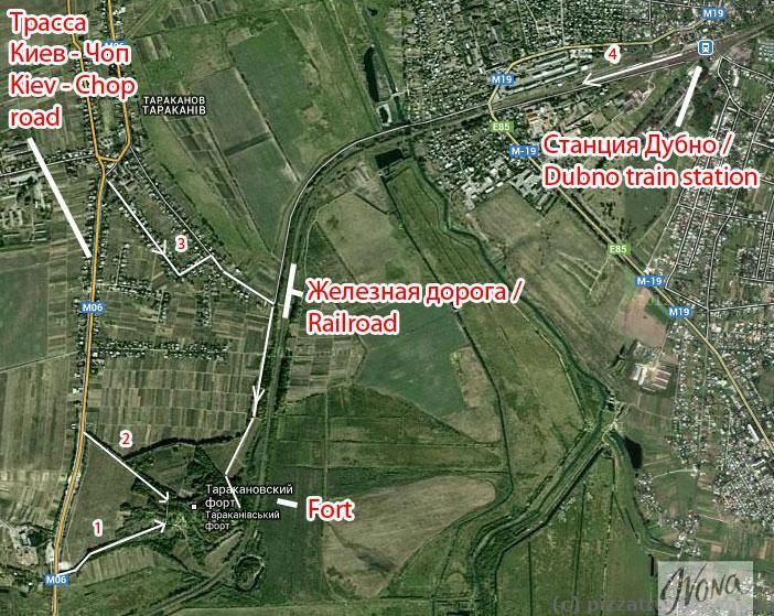 Схема проезда в Таракановский форт: Если ехать по маршруту 3, то нужно повернуть от трассы в Тараканове возле кладбища, доехать до железной дороги и свернуть направо на грунтовую дорогу. Проехать примерно 800 метров до подъема и на нем свернуть налево. Через 100 метров будет тоннель, по которому можно подняться в форт.