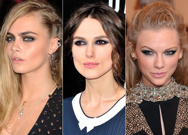 Слева направо: модель Кара Делевинь, актриса Кира Найтли и певица Тейлор Свифт предпочитают дымчатый макияж