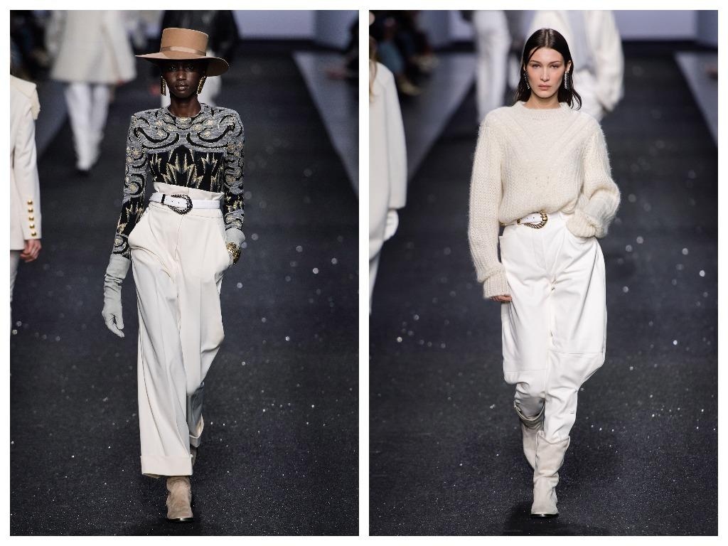 Белые брюки сочетайте с фактурным верхом и богемными аксессуарами