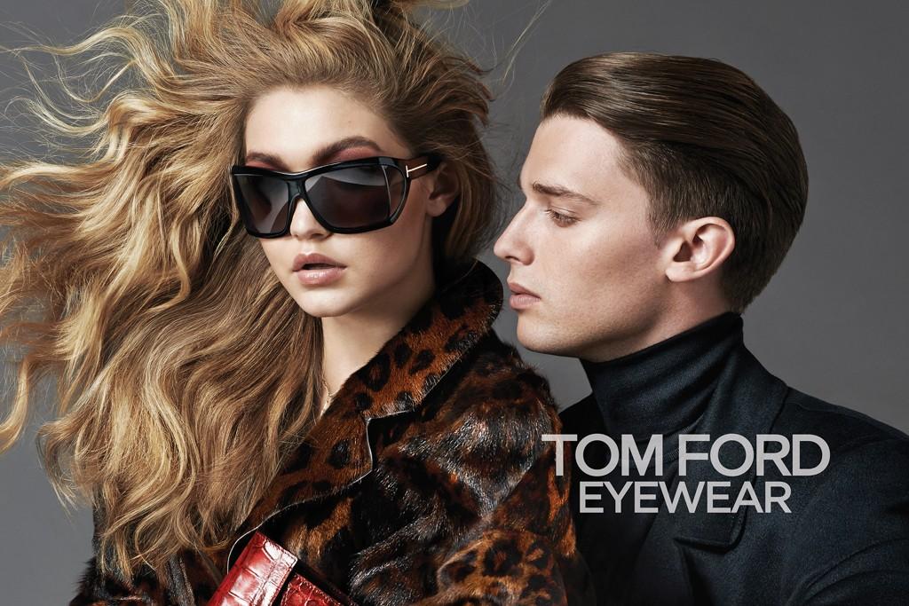 Модели Джиджи Хадид и Патрик Шварцнеггер в рекламной кампании очков от Tom Ford