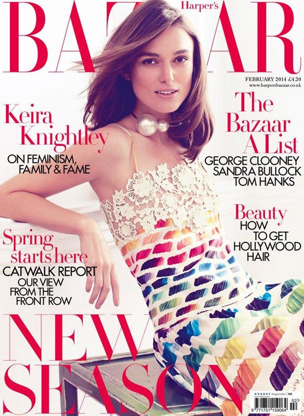 Актриса Кира Найтли в наряде Chanel на обложке Harper's Bazaar