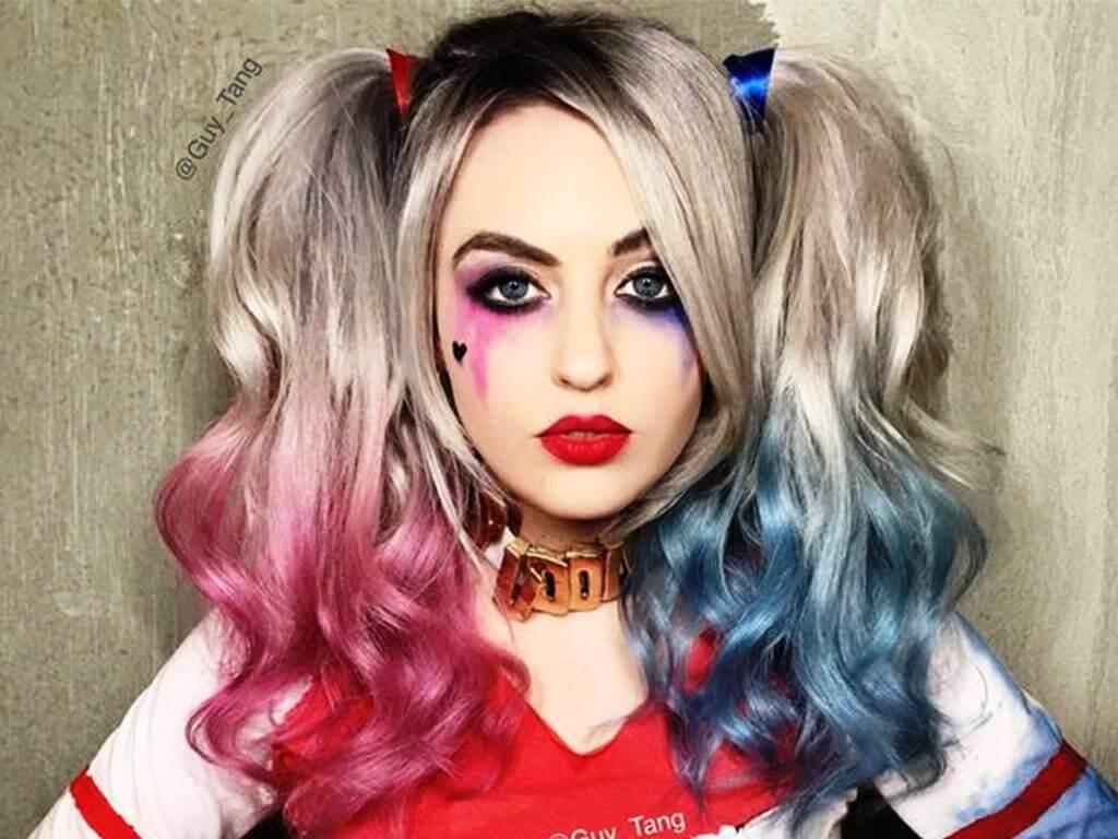 Прически на Хэллоуин: образ клоуна - Харли Квинн