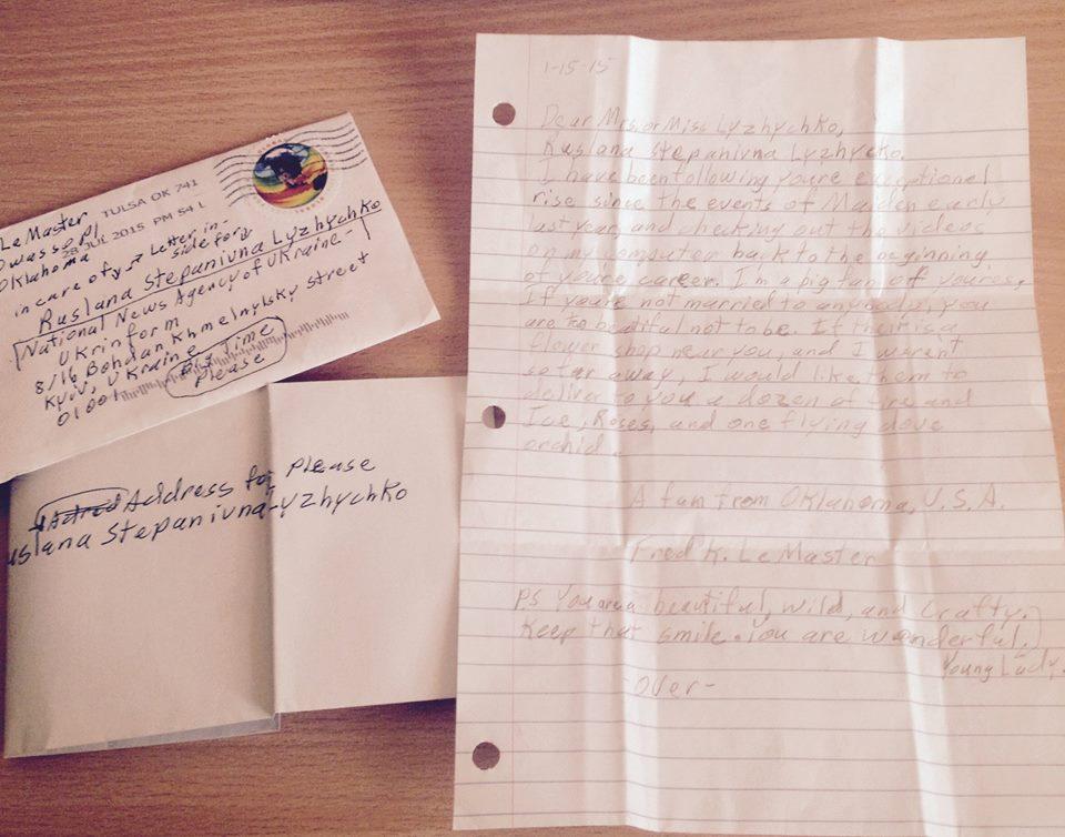 Письмо Руслане от ее поклонника из США