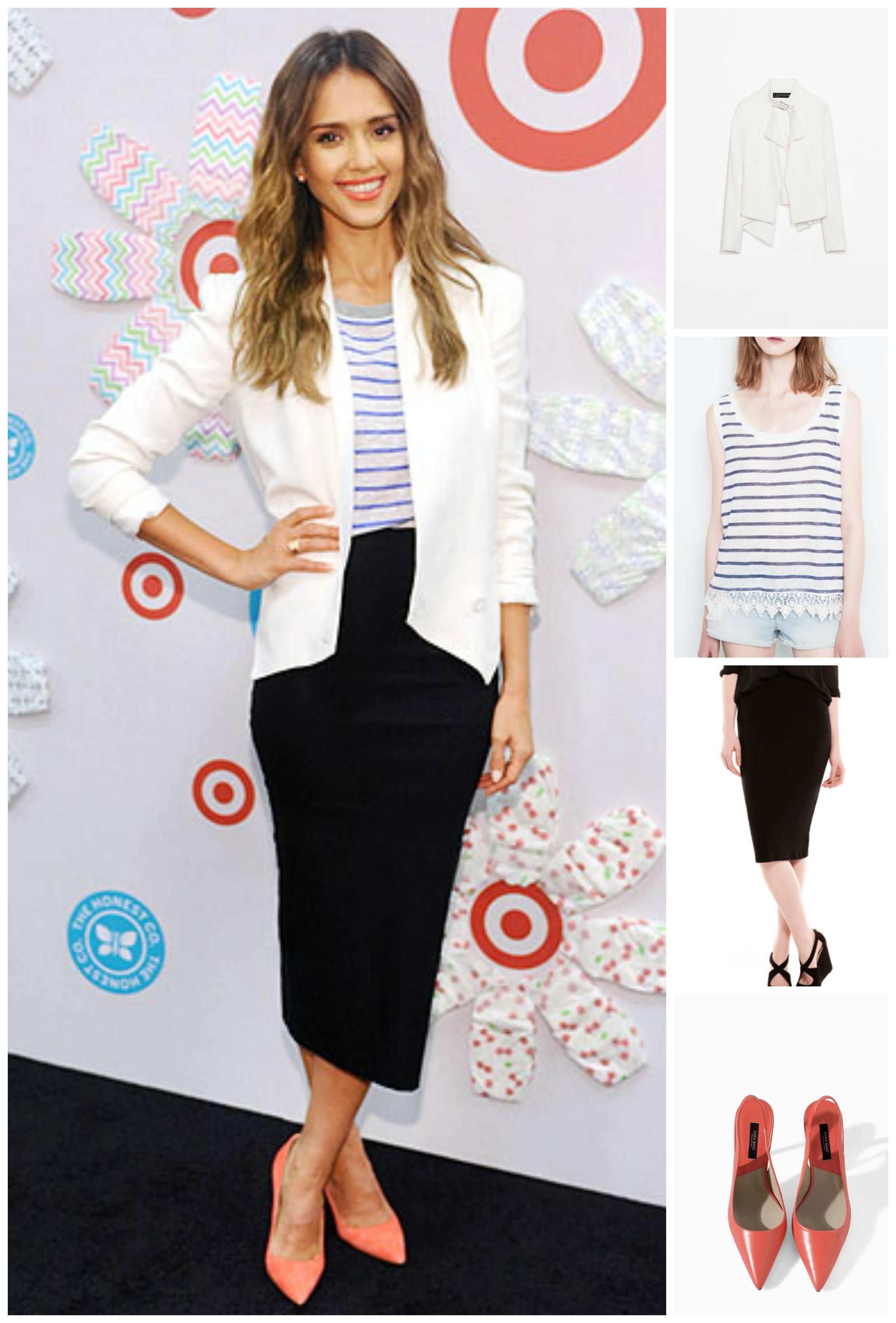 Блейзер от Zara (999 грн.), кофта от Pull&Bear (159 грн.), юбка от Bershka (139 грн.), туфли от Zara (399 грн.)
