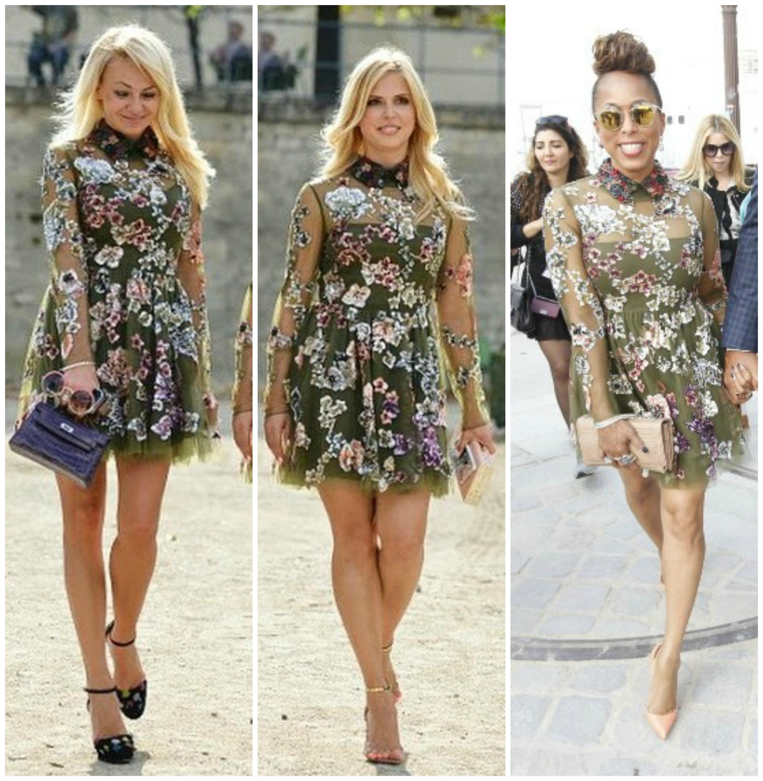 Оливковое платье понравилось сразу трем модницам: Яне Рудковской, Марии Богданович и Марджори Харви (слева направо)