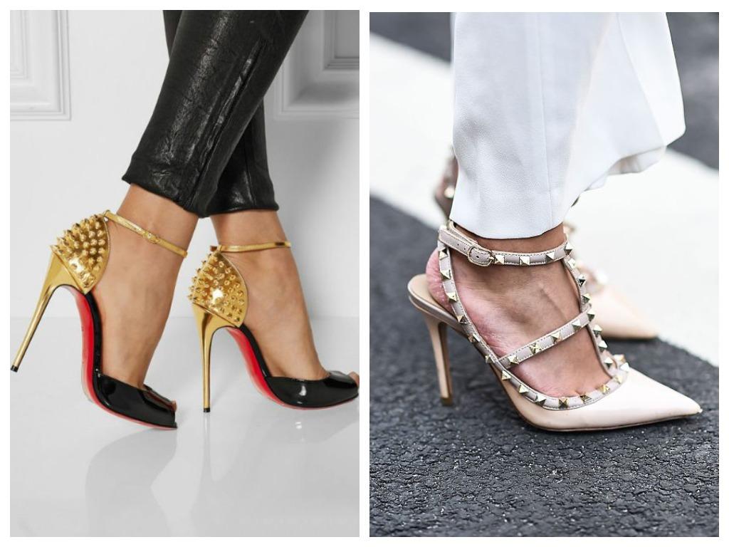 Туфли с шипами замените на босоножки на тонких ремешках