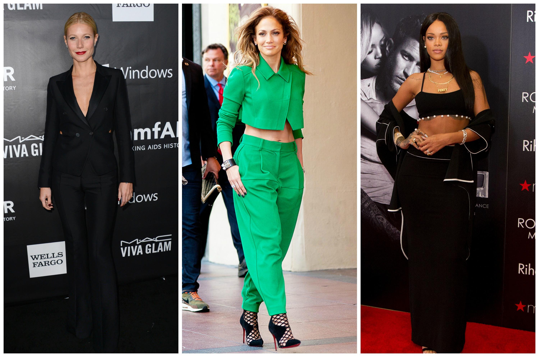 Звездные модницы Гвинет Пэлтроу, Дженнифер Лопес и Рианна (слева направо)