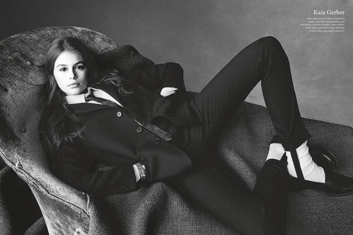 Кайя Гербер в черно-белой фотосессии для журнала Vogue Italia