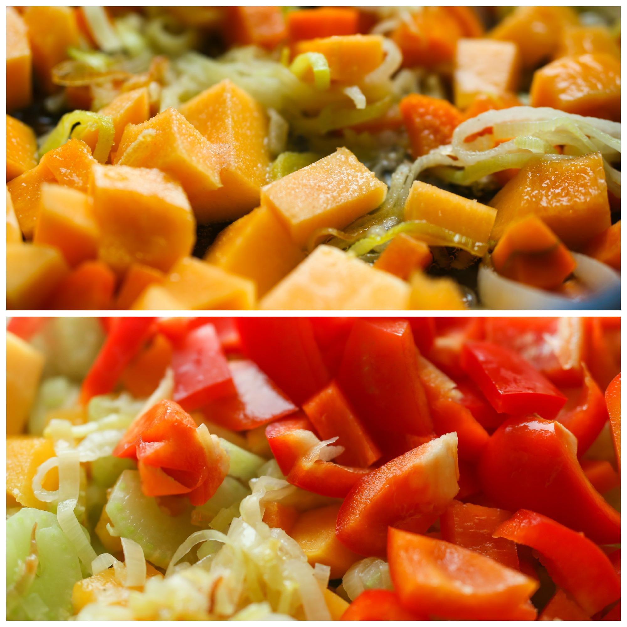 Отправляем на сковородку остальные овощи
