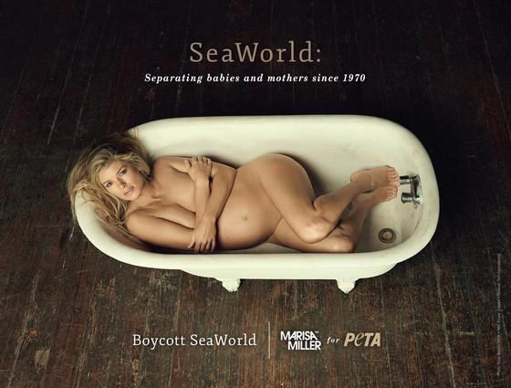Модель Мариса Миллер в рекламной кампании для PETA