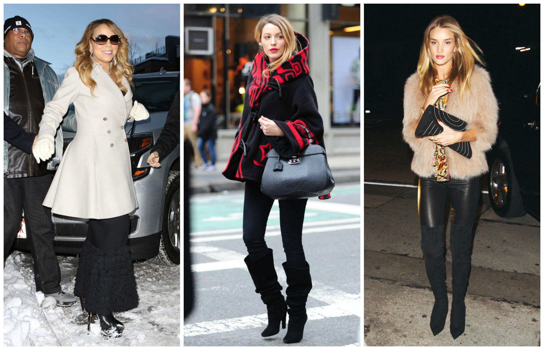 Звездные модницы Мэрайя Кери, Блэйк Лайвли и Рози Хантингтон-Уайтли встречают холода стильно