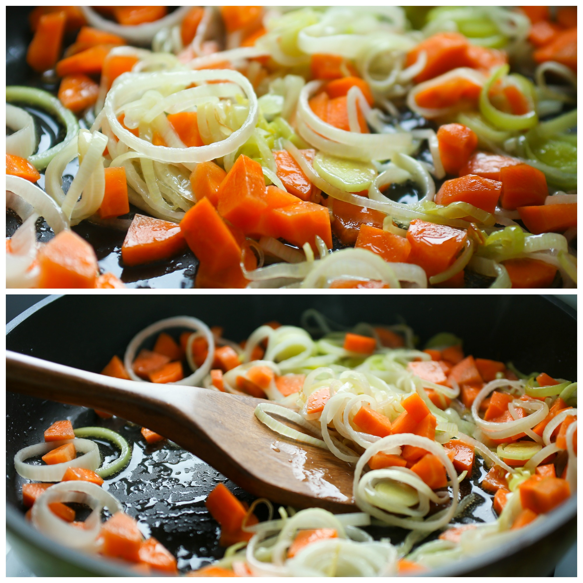 Тушим лук порей с морковкой