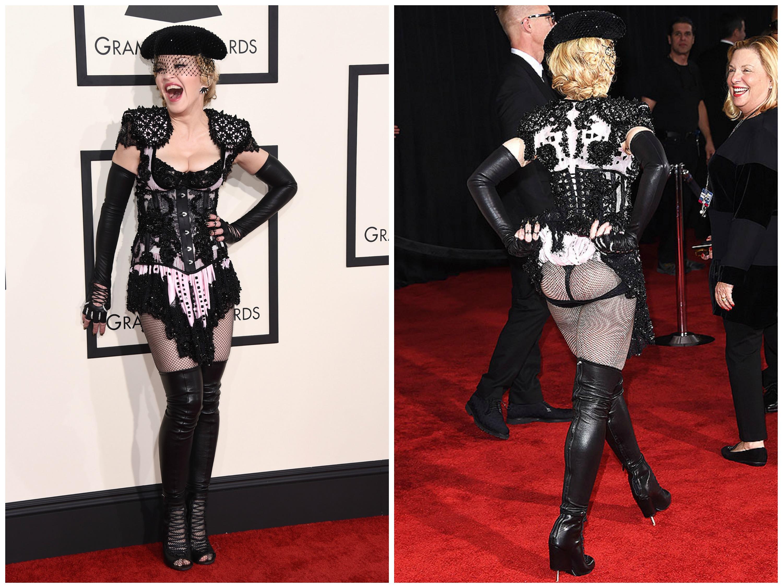 Наряд поп-звезды Мадонны вызвал настоящий скандал на красной дорожке Грэмми 2015
