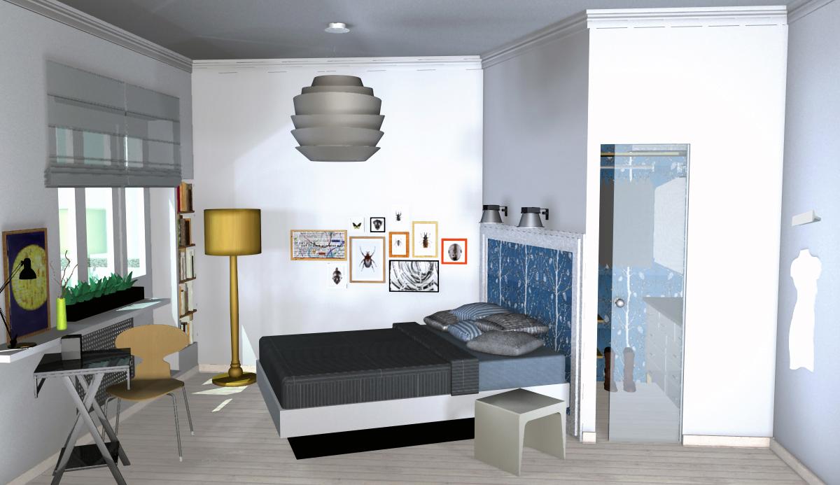 Угловая гардеробная в спальне 117