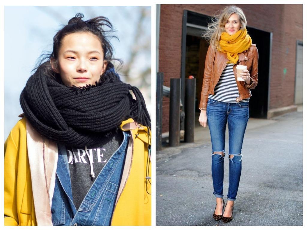 Модные способы как завязь шарф - закрутить дважды вокруг шеи