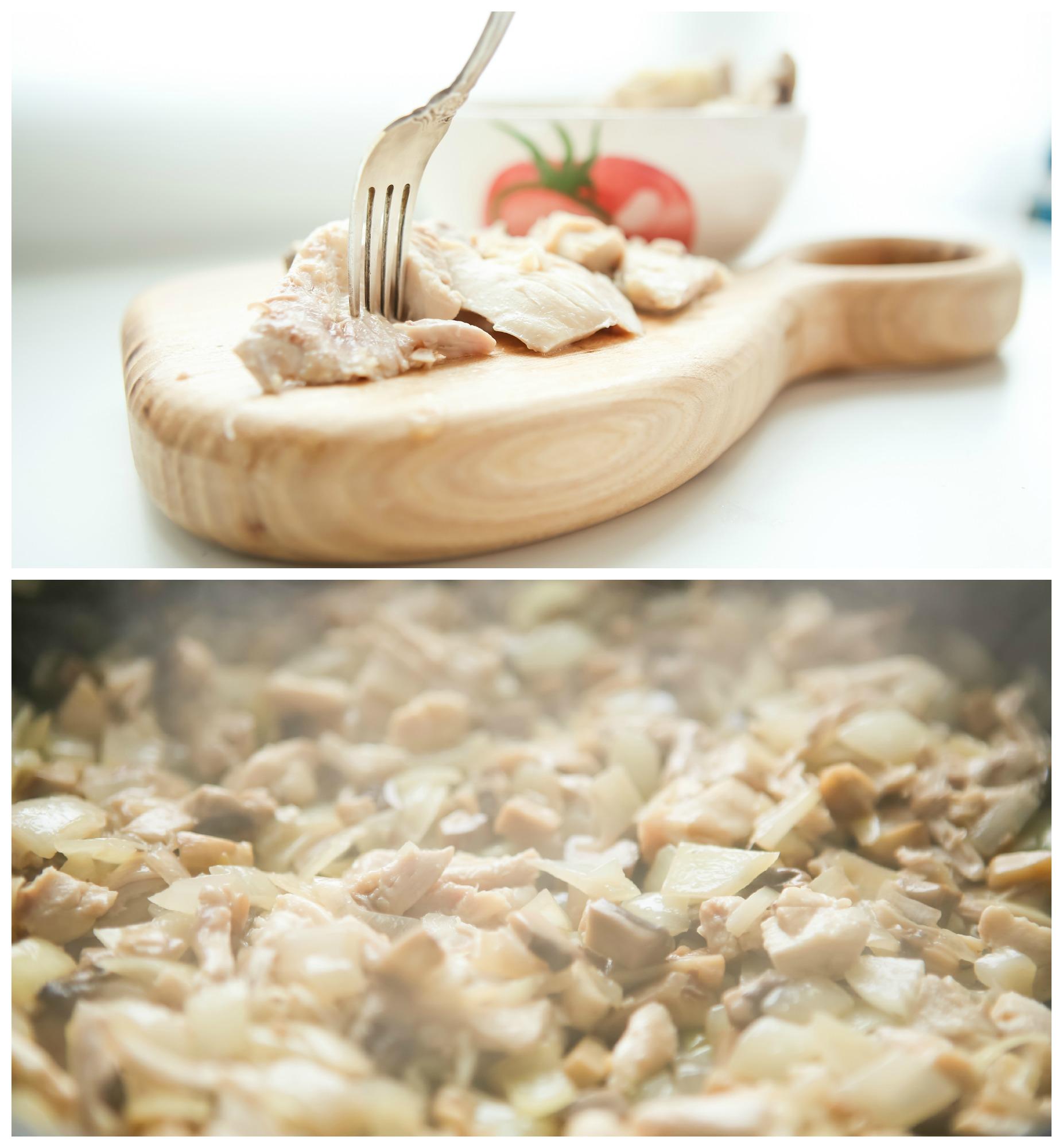 Добавляем к грибам курицу