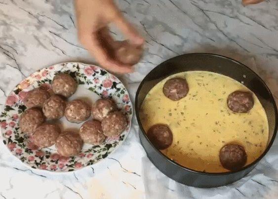 Заливной пирог с фрикадельками: вкусный рецепт