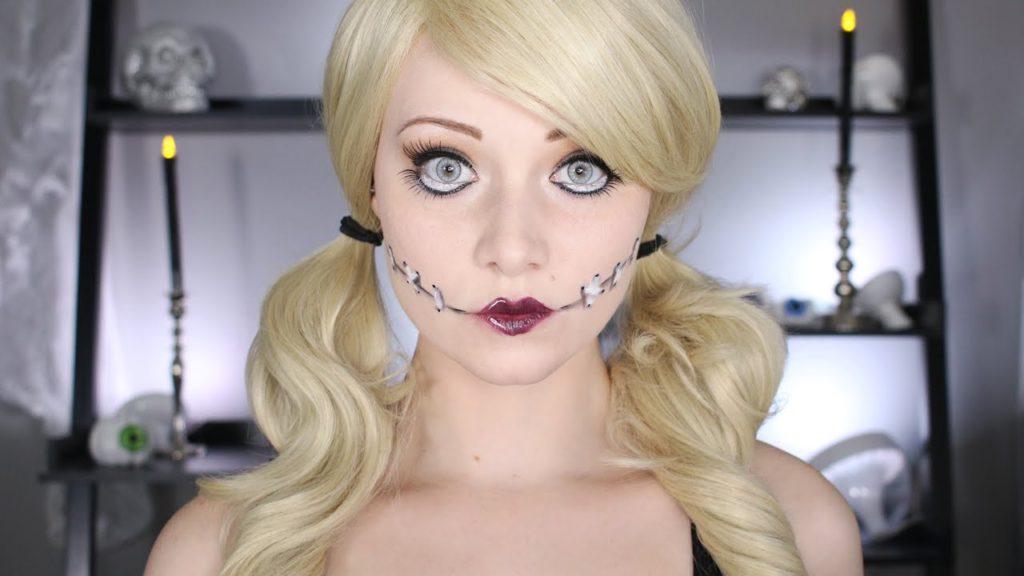 Прически на Хэллоуин: кукольный образ